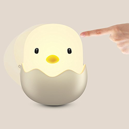 Cute Night Lights for Kids, Ashow Tumbler Egg Shell Chick Lamp with Safe ABS Silicone Adjustable Brightness LED Rechargeable Nightlights for Nursery Baby Bedroom(Yellow (Cute Baby Chick)
