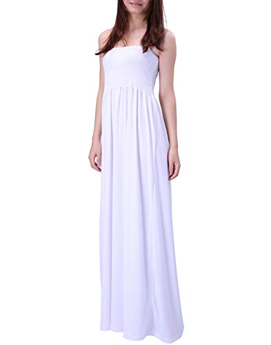 HDE Women's Strapless Maxi Dress Plus Size Tube Top Long Skirt Sundress Cover Up (White, Large) ()