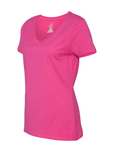 Hanes Women's Short Sleeve Nano-T V-Neck Tee, Wow Pink, ()