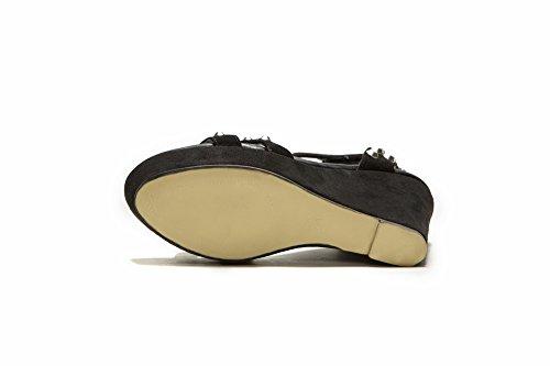 Allhqfashion Donna Open Toe In Pelle Di Pecora Tacchi Alti Sandali Con Chiodo In Metallo Nero
