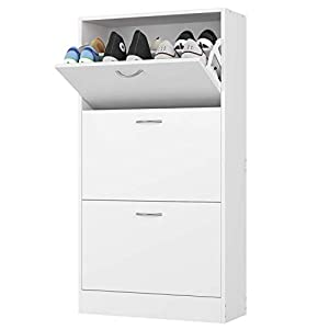 Homfa 3 Tier Shoe Cabinet Shoe Storage Rack Wooden Shoe Cupboard Organizer for Hallway with 3 Drawers White 57.5×23.8x108cm