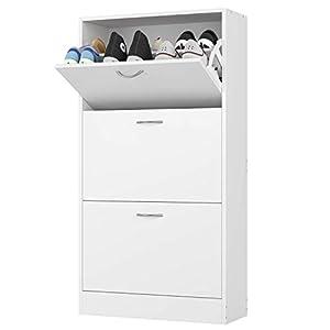 Homfa 3 Tier Shoe Cabinet Wooden Shoe Storage Rack Cupboard Organizer Unit with 3 Drawers White 80 * 23.5 * 110cm