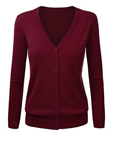 SMALNNIE Women's Button Down Long Sleeve V Neck Soft Cashmere Cardigan Sweater Wine Red M