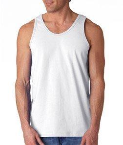 Gildan Adult 6.1 oz 100% Cotton Tank Top in White - Medium