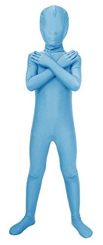 Sheface Kids Spandex Full Bodysuit Fancy Dress Costume (Large, Sky Blue)