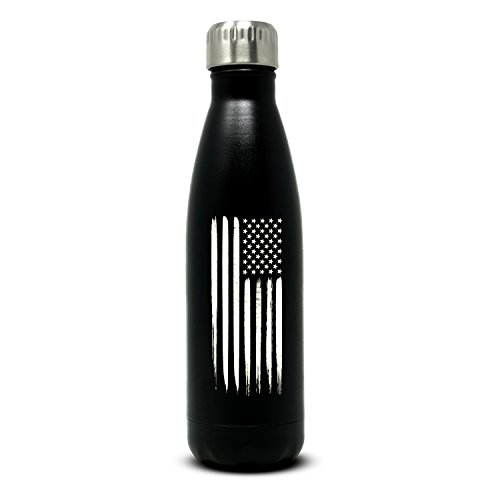 Military Gift Shop 17oz American Flag Double Wall Vacuum Insulated Stainless Steel Flag Water Bottle – Great for Gym or Outdoor Sports Like Hiking Camping and Cycling (Black Matte Cap Military)