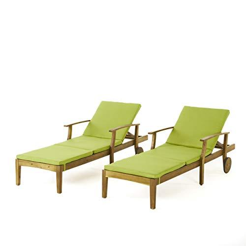 Cheap Great Deal Furniture Daisy Outdoor Teak Finish Chaise Lounge with Green Water Resistant Cushion (Set of 2)