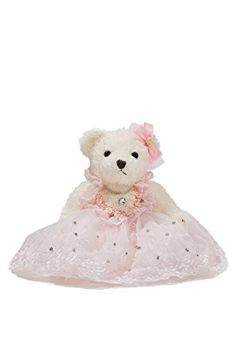 "Bride Teddy Bear in Pink Tutu Dress Wedding Stuffed Animal Soft Plush Toy 10"" (white, cotton candy pink)"
