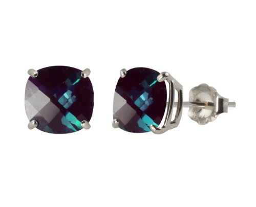 - Sterling Silver 8mm Checkerboard Cushion Created Alexandrite Stud Earrings