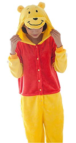 kxry Winnie Unisex Adult The Pooh Costume Sleepwear Cartoon Cosplay Pajamas Onesies Halloween