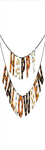 Halloween 3D Decorative Film Privacy Window Film No Glue,Frosted Film Decorative,Happy Halloween Banner Greetings Pumpkins Skull Cross Bones Bats Pennant Decorative,for Home&Office,23.6x59Inch Orange
