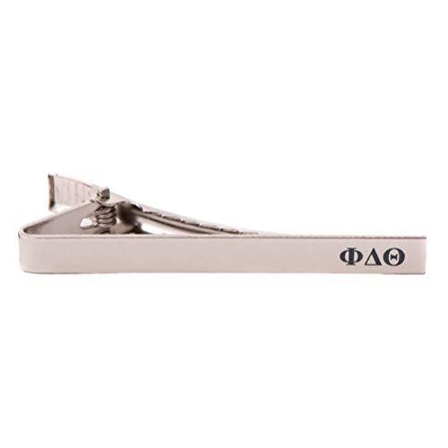 (Desert Cactus Phi Delta Theta Fraternity Silver/Gold Engraved Letter Tie Bar Greek Formal Occasion Standard Length Width Phi Delt (Silver Letter Tie Bar))