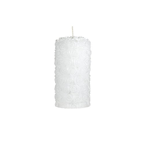 "Mega Candles Unscented White Round Rose Pillar Candle | Hand Poured Premium Wax Candles 3"" x 6"" 