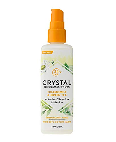 (Crystal Essence Mineral Deodorant Spray, Chamomile & Green Tea 4 oz (Pack of 3) )