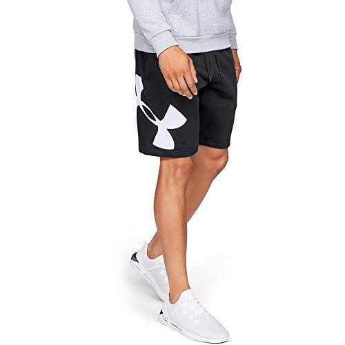 Under Armour Men's Rival Fleece Logo Sweatshort, Black (001)/White, Medium