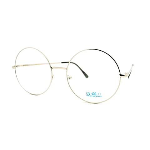 Super Oversized Round Circle Frame Clear Lens Glasses Silver - Large Circle