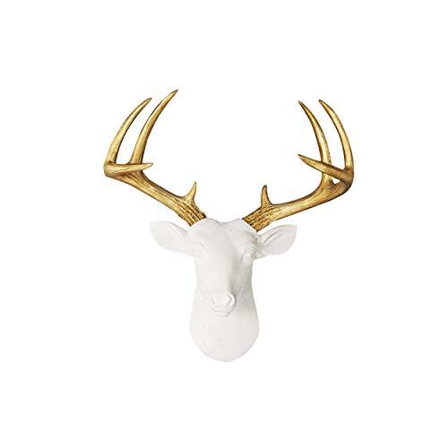 WALL CHARMERS Mini White + Gold Antler Faux Deer Head – 14″ White Faux Taxidermy Animal Head Wall Decor – Handmade Farmhouse Decor For Sale