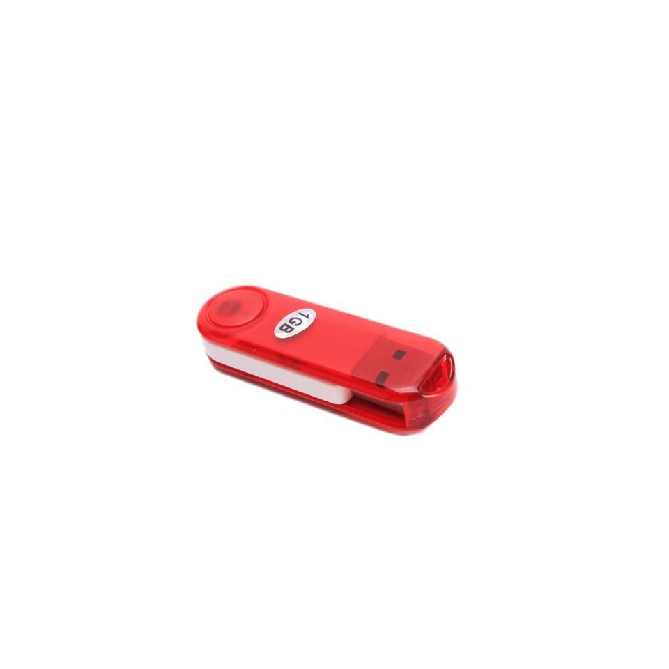 1GB Crystal Rotatable USB Flash Memory Drive Red