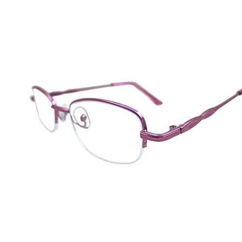 0~4 Moda Gafas Revestimiento Marco lectura Resina Rosado retro para mujeres 1 de Medio Deylaying 0 lentes leer UW84n66
