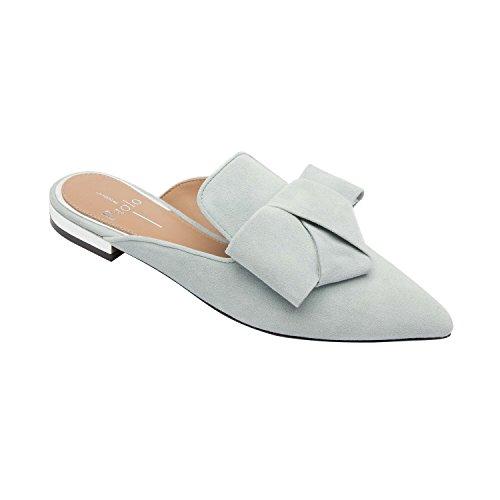 Linea Paolo Anya | Spetsiga Tå Origami Rosett Slip-on Mule Platt Läder Eller Mocka (ny Vår) Azure Mocka