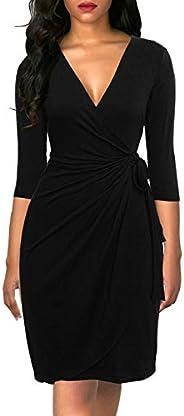 Berydress Women's 3/4 Sleeve V-Neck Casual Party Work Faux Black Wrap Dre