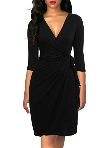 Berydress Women's Classic Cocktail Party 3/4 Sleeve Deep V Neck Draped Waist Tie Belt Knee-Length Faux Black Wrap Dress (M, 6083-Black)