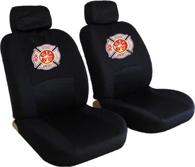 Front Low Back Seat Covers Set - Fire Fighter Firefighters Maltese Cross Fire Department Custom Embroidered Logo