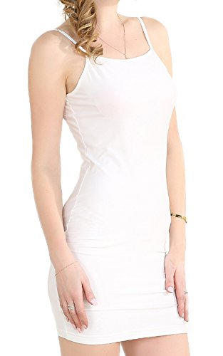 Chifave Women's Sexy Seamless Bodycon Spaghetti Strap Cami Slip Under Mini Dress (L, White)