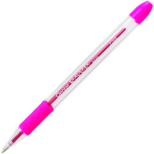 Pentel R.S.V.P. Ballpoint Pen, 0.7mm Fine Tip, Pink Ink, Box of 12 (BK90-P)