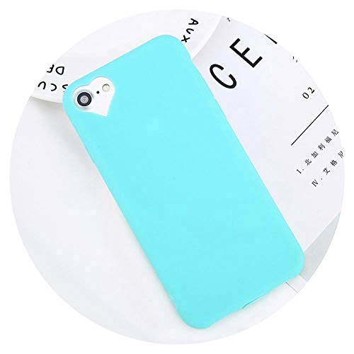 Phone Case for iPhone 6 6S 7 8 Plus 5 5S Se Fashion Candy Solid Color Love Heart Soft Silicone for iPhone 8 Phone Case,Green,for iPhone 8 (Adidas Iphone 4s Case)