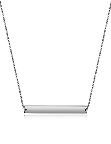 Wistic Bar Necklace Stainless Steel Gold Plated Adjustable with Engravable Bar Pendant(16Inch+2)(White)