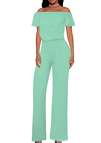 HyBrid & Company Women High Waist Wide Leg Pants Jumpsuit Romper KPVJ47696 E9000 Mint XL