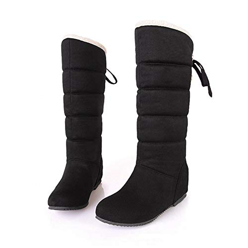(DETAIWIN Womens Mid Calf Boots Wedges Height Increasing Faux Suede Short Plush Winter Snow Boots)
