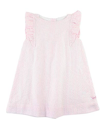(RuffleButts Baby/Toddler Girls Pink Seersucker Jumper Dress - 3-6m)