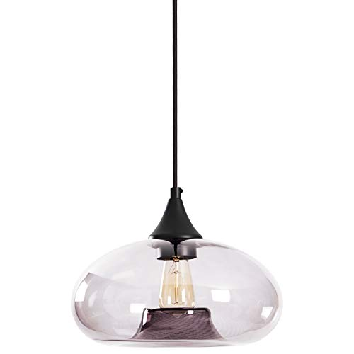 - Rivet Mid-Century Tinted Glass Shade Pendant Light with Bulb, 60