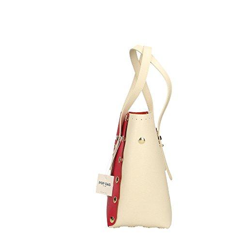 Cm femme véritable main Impression en Fuchsia Saffiano à POP cuir Sac Italy in Made 23x23x12 Bags Crème Crème t0Iq6qn1w