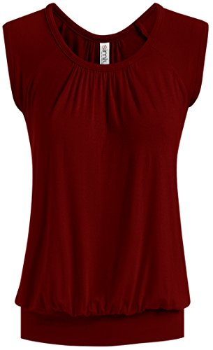 - Burgundy Sleeveless Top Pleated Front Top for Women, Burgundy, XXX-Large