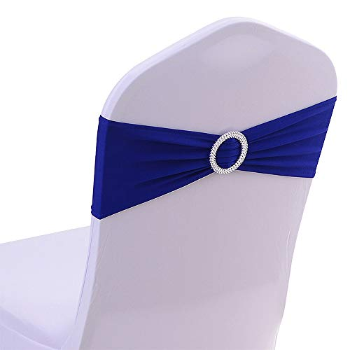 50PCS Spandex Chair Sashes Bows Elastic Chair Bands with Buckle Slider Sashes Bows for Wedding Decorations Without White Covers (Royal ()