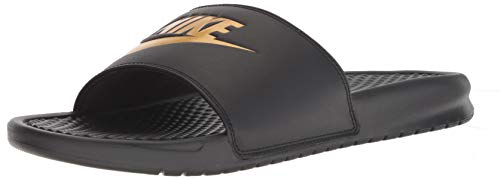 Nike Men's Benassi Just Do It Slide Sandal, Black/Metallic Gold, 4 Regular US