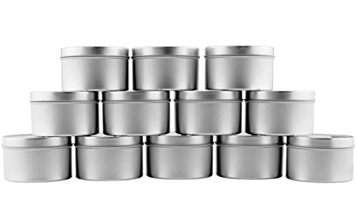 - 8-Ounce Round Metal Tins (12-Pack); For Candles, Arts & Crafts, Storage & More
