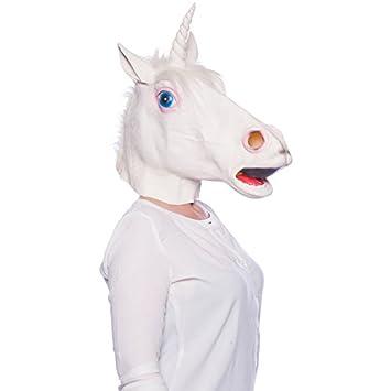 Folat Máscara de látex Unicornio Blanco