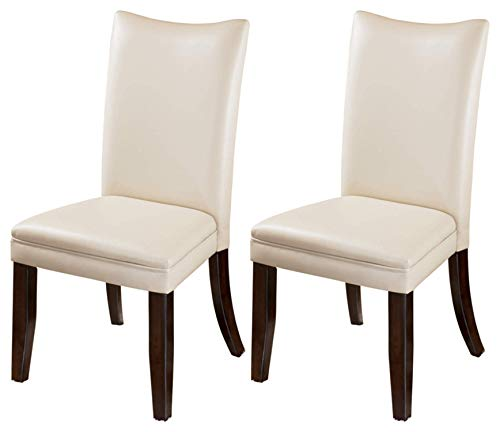 Ashley Furniture Signature Design - Charrell Dining Side Chair - Curved Back - Set of 2 - Ivory (Leather Chairs Cream Kitchen)