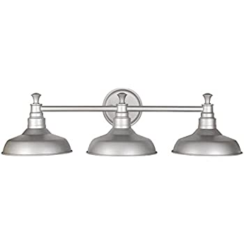 Design House 520312 Kimball 3 Light Vanity Light, Galvanized Steel Finish