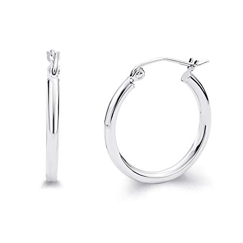 (14k White Gold 2mm Thickness Hinged Hoop Earrings (20 x 20)