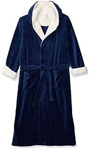 Alexander Del Rossa Men's Warm Fleece Robe with Hood, Plaid Big and Tall Bath