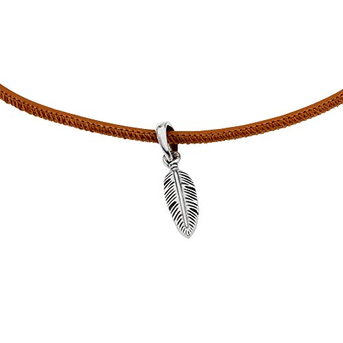 (Pandora Golden Tan Leather Choker Necklace with Feather Pendant 397197CGT38)
