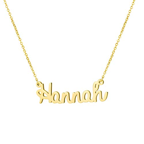 Yiyang Friendship Necklaces Personalized Name Necklace 18K Gold Plated Stainless Steel Jewelry Birthday Gift for Girls Hannah
