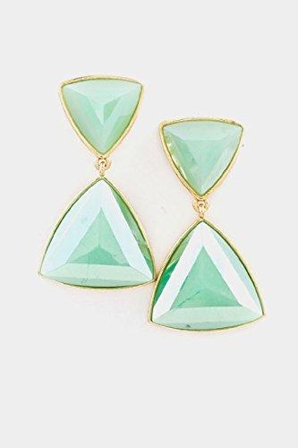 Trifari Triangle Earrings (Karmas Canvas Faceted Double Triangle Dangle Earring (Mint))