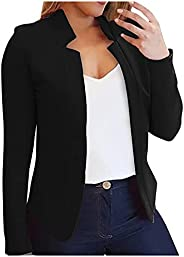 Blazer Jackets for Women Pure Color Fashion Open Front Cardigan Long Sleeve Casual Jacket Coat