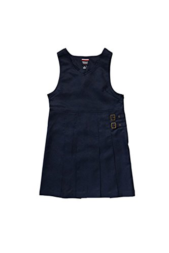 French Toast Big Girls' Double Buckle Tab Jumper, Navy, 10 School Uniform Jumper Dress
